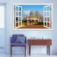 american architecture styles - 3D Window View Wall Stickers Muslim architecture Mosque Wallpaper Wall Stickers Construction Home Decor Vinyl Decals for Walls X28inch