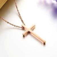Wholesale Ladies jewelry Rose Gold Cross Necklace titanium lady