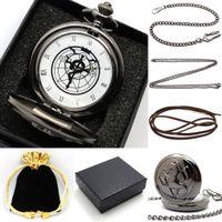 animated sets - Classic Animate Fullmetal Alchemist Cartoon Antique Pocket Watch Gift Set With Necklace Chain Men Women Relogio De Bolso