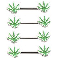 Wholesale 10 Pairs Sexy Maple Leaf Nipple Ring L Surgical Steel Barbell Body Jewelry Nipple Bar Ring Piercing For Women