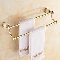 bath towel rod - Jade pendant bathroom towel rack copper towel bar gold bath towel rack European marble double rod
