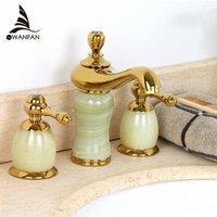 Wholesale new Luxury stone basin mixer faucet Copper gold Dual handle bathroom sink taps Bathtub shower set E