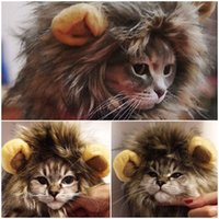 Wholesale 2017 Furry Gatos Jouet Chat Katten Speelgoed Pet Hat Costume Lion Mane Wig For Cat Pets Halloween Fancy Dress Up With Ears Home for Christma