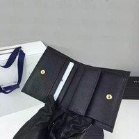Precio de Bolsas de bolsillos-Mejor calidad de gama alta de cartera de la marca de moda mini cartera de importación de cuero genuino de punto cruz bolso de tarjeta de bolsillo con caja