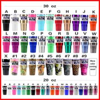 Wholesale 20oz oz Yeti Rambler Cups Stainless Steel Mugs Gold Yeti Coolers Green Powder Coated Red Black White Green Light Blue Purple In Stock