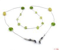Wholesale GL181 pc New Handmade Green Crackled Glass Beaded Olivine Stone Glasses Chain Strap Cord Holder