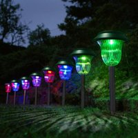 Wholesale set of Plastic Garden LED Color Changing Solar Lawn Lights Pathway Outdoor Garden Path Party Lamp