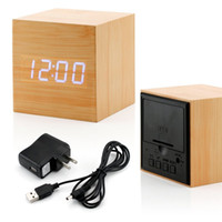 Wholesale Wood LED Alarm Clock Time Temperature Date Sound Control Latest Generation led alarm light led display