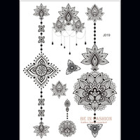 Wholesale one piece Indian Arabic designs lace flash tribal black white henna tattoo paste fake tatoo sticker on body hand choker J019B