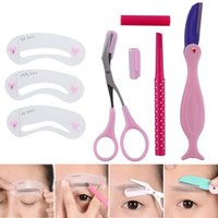 Wholesale eyebrow thrush Thrush Eyebrow Shaping Tools with Brown Eyebrow Pencil Set Eyebrow Stencils Tools Set