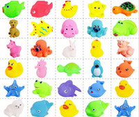 Wholesale Baby Bath Toys Water Floating Dolls Animal Cartoon Yellow Ducks Starfish Children Swiming Beach Rubber Toy Kids Gifts fast shipping