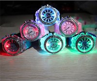 Wholesale LED Light Glow Geneva Watches diamond crystal stone Led Light watch unisex silicone jelly candy flash up Wristwatches Sports Watches