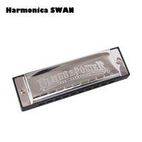 Grossiste Harmonica SWAN Harpe Bruce Power 10 trous Harpe BLUES Harpe Diatonique avec boîtier en laiton acier inoxydable