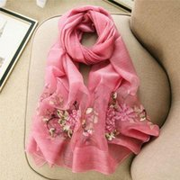 Wholesale Winter wool scarf shawl and silk silk scarf embroidered flowers Long Scarf Chinese female winter wind