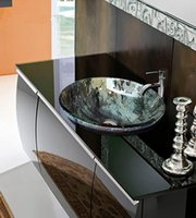 Wholesale Tempered glass wash basin mm mm double glazing Like a rock like multi level pattern degrees high temperature firing never fade