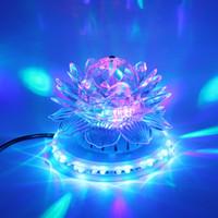 Wholesale Lotus Led stage light Sound Actived Auto RGB Stage Lighting UFO with EU plug KTV Xmas Party Wedding DJ lighting decoration