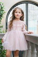 al por mayor ropa de vestir corea-La nueva muchacha del resorte 2017 se viste los niños largos de la princesa Dress del vestido del cordón de la alta calidad del estilo de Corea que arropan 3-8Y 17002