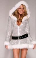 Wholesale Costume Santa Claus Woman Sexy - With Silver Cap Sequined Dress Skirt Christmas Night Uniforms Sexy Underwear Sexy V Collar White Cashmere Edge