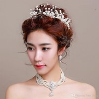 Fascinators articles trades - 2016 Rushed Fascinators Rhinestone crystal The New Bride Headdress of Foreign Trade Handmade Pearl Flower Crown A Girl Hair Adorn Article