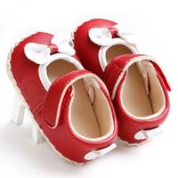 achat en gros de chaussures filles bébé jaune-Rouge Jaune Bébé Féminin premier Walker Chaussures Baby Tissu Bowknot princesse chaussures Sport occasionnels pour les bébés filles S047
