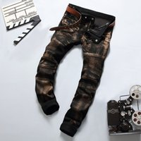 Full Length best designer jeans - Patchwork Vintage Bronze Paint Printed Ripped Rider Jeans Pants New Designer Jeans Men Best Quality Brand Slim Men s Jeans