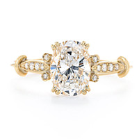 White Gold art deco gold ring - Art Deco Style Oval Shape GIA Certified Diamond Engagement Ring CTW K