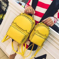 Wholesale 2017 brand fashion women stud backpack catwalk rivet handbag double strap back pack bags lady purse party cat thread sequin XX01
