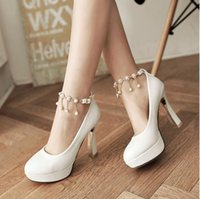 Wholesale Chain Ankle Strap High Heel - Spring 2017 new coarse documentary shoes a word buckle shoes white wedding dress the bride bridesmaid shoes high with marriage