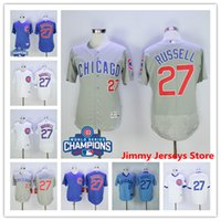 Wholesale Men Chicago Cubs Addison Russell baseball Jerseys WORLD SERIES CHAMPIONS Good Quality Nice Flexbase Blue White Grey