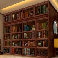 Wholesale d three dimensional simulation of the living room bookshelf large murals TV backdrop wallpaper green wallpaper library study