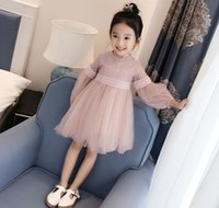 Girl Embroidery Lace 2017 Spring Autumn new girls princess Dress knitted long sleeve Lace dress flower girl wedding party dress kids children gift