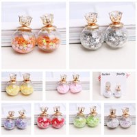 Stud ball earrings zircon - Fashionable transparent glass ball bulb color five pointed star bubble zircon earrings double sided earrings girl earring CA011