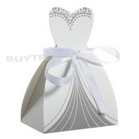 Wholesale New Bridal Gift Cases Groom Tuxedo Dress Gown Ribbon Wedding Favor Candy Box
