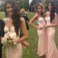 Wholesale Nude Pink Long Bridesmaids Dresses Cheap Sweetheart Appliques Lace Mermaid Wedding Guest Gowns Floor Length Plus Size Evening Prom Wear