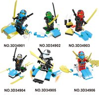 Wholesale 6pcs Set Ninjago Cartoon Action Figures Building Blocks Kids Toy Gift