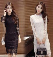 Wholesale 2016 summer hot sale High end new Korean women dress dress black lace slim long sleeve dress tide backing