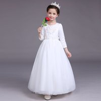 Wholesale Children Wedding Dress Long Sleeve Girls Dress Baby Clothes During The Spring And Autumn Winter Costumes White Bitter Fleabane Hot
