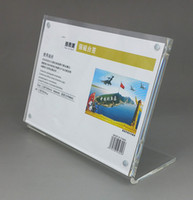 acrylic tabletop display - Variety Size T3mm Magnetic L A4A5A6 Clear Acrylic Plastic Sign Display Paper Label Card Price Tag Holder Stand Horizontal On Tabletop