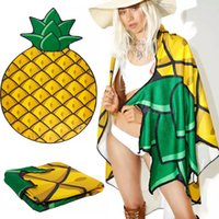 Wholesale Round Polyester Beach Shower Towels Blanket Yoga Towel Skull Strawberry Pineapple Pie Pizza Cup cake Hamburger Patterns Pools Spa shawl