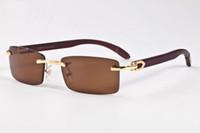 achat en gros de lunettes cerclées marques-Lunettes de soleil de marque Hommes de marque Rimless blanc Bois bambou jambes Buffalo Horn lunettes de soleil lunettes de soleil de marque