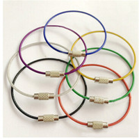 Wholesale 7pcs Car Colors Stainless Steel Wire Keychain wire rope Car key Chain Keyring Holder Key Rings