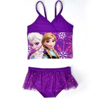 Wholesale Elsa Anna Swimwear Kids Swimming girl Bikinis Set Two Pieces Baby Girls Bathing Suit Children Purpel Lace Sequined Swimsuit CL045