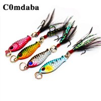 achat en gros de crankbait pêche sonres petits-1 pcs 5cm / 4.7g Petite Minnow Metal Fishing Crankbait Lure 3d Eyes Baits Artificial Bait With Plume Fishing Tackle