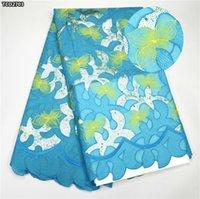 Precio de Cielo azul de la tela de lentejuelas-Tela del cordón del Organza del diseño de la flor para el vestido de boda Zapatos africanos calientes del cordón del cequi de la venta TCO27