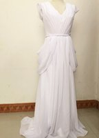 Wholesale In Stock White Chiffon Deep V Neck Sexy Beach Wedding Dresses Long Sleeve Bridal Gown Wedding Party Dress