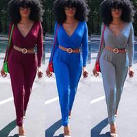 Regular belt amps - Autumn And Winter New Pattern Woman Suit dress V Lead Belt Long Sleeve Casual Pants Jumpsuits Amp Rompers Cotton Blend