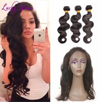 Wholesale 8A Hot Pre plucked Lace Frontal Closure With Bundles Beauty Malaysian Body Wave lace frontal with bundle with baby hair