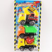 Wholesale Sliding construction vehicle model toy car three in one package excavator dump truck cement tanker