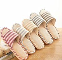 Wholesale Stripe seasons indoor slippers cotton linen couples antiskid soft bottom household wood floor cool slippers manufacturers