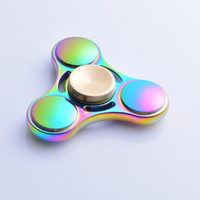 Rainbow color big and beautiful - Latest hand spinner in zinc alloy with beautiful rainbow color decompressive tool and Torqbar toy similar to EDC after study work